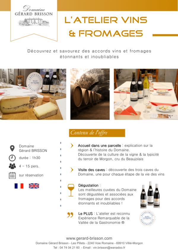 Fiche technique de l'atelier vins & fromages au domaine Gérard Brisson